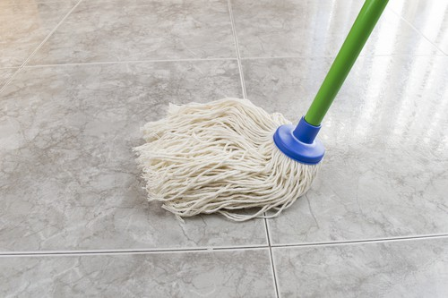 Mopping marble flooring